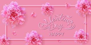 Valentin dagkort med pionblommor royaltyfri fotografi