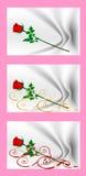 Valentin dagkort med röda rosor Tecknad filmbilder av förälskelse En samling av bilder Royaltyfri Foto