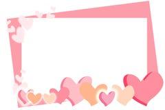 Valentin dagkort med rosa hjärtor Royaltyfria Foton