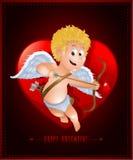 Valentin dagkort med tecknad filmcupiden Arkivbilder