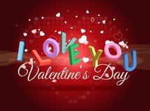 Valentin dagkortet älskar jag dig royaltyfri illustrationer