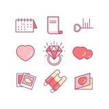 Valentin daglinje symbolsuppsättning Förälskelse som gifta sig romantiska symboler Arkivfoto