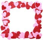 Valentin dagram. Rött och rosa blänka hjärtor som isoleras på w Royaltyfria Bilder
