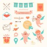 Valentin daguppsättning av beståndsdelar för design Royaltyfri Bild