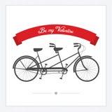 Valentin dagvykort med den tandema cykeln för tappning Royaltyfri Bild