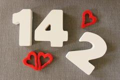 Valentin datum 14,2 Arkivbild