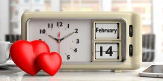 Valentin datum på den gamla retro ringklockan, röda hjärtor, kontorsbakgrund, illustration 3d stock illustrationer