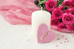 Valentin Day card with roses and candle Stock Images