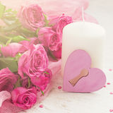 Valentin Day card with roses and candle Royalty Free Stock Photo