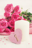 Valentin Day card with roses and candle Royalty Free Stock Photos