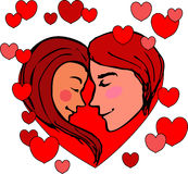 Valentin en ung man med en flicka, tvekar att kyssa, på bakgrunden av hjärtor Ungdomarinskrivas i hjärtan Royaltyfria Foton