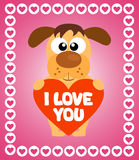 Valentin'es Day background with dog Royalty Free Stock Photos