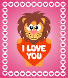 Valentin'es Day background with lion Royalty Free Stock Photography