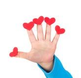 Valentin för barn hållande hjärtor för dag royaltyfri foto