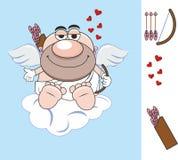 valentin för dag s arrowheaden Hjärta stor röd hjärta för förälskelse för förälskelseängelvingar gåva bokstav cupid cupid aneurys royaltyfri illustrationer