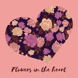valentin för dag s Blommor i hjärtan Hälsningkort med den blom- modellen Illustration i tappningstil vektor för förälskelse för f royaltyfri illustrationer