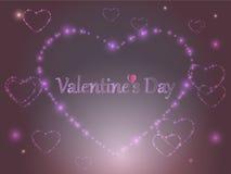 valentin för dag s Glödande hjärtor för rosa färger på en kulör bakgrund Royaltyfri Bild