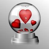 valentin för dag s Glass jordklot med hjärtor inom Arkivbilder