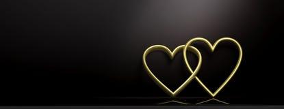 valentin för dag s Guld- gripa in i varandra hjärtor på svart bakgrund, baner, kopieringsutrymme illustration 3d royaltyfri illustrationer