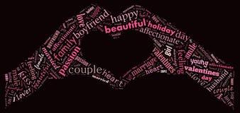 valentin för dag s jag älskar dig älska för par Hjärta Illustration i ord Arkivfoton