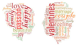 valentin för dag s jag älskar dig älska för par Hjärta Illustration i ord Royaltyfri Bild