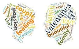 valentin för dag s jag älskar dig älska för par Hjärta Illustration i ord Royaltyfria Foton