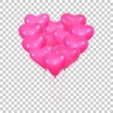 valentin för dag s Ställ in av realistiska rosa heliumballonger av hjärtaform och band Valentin ballonger stock illustrationer