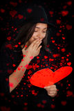 Valentin för flicka läs- kort för dag Royaltyfri Bild