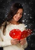 Valentin för flicka läs- kort för dag Arkivfoton