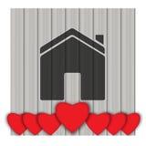 valentin för form för korthjärtaförälskelse konst tecknad ure för natur för handillustration n Royaltyfri Bild