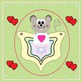valentin för mus s för kortdag liten royaltyfri illustrationer