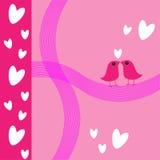 valentin för pink s för fågelkortförälskelse Arkivbild