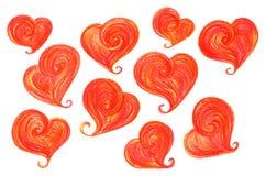 Valentin för röd orange hjärta för vattenfärg isolerad Sankt uppsättning för dag Arkivfoto