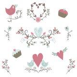 valentin för samlingsdag s Vektorfåglar, hjärtor, blommor och andra beståndsdelar tecknad hand Enkelt och gulligt Royaltyfria Bilder