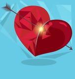 valentin för symbol för daghjärtaorigami röd s Royaltyfria Bilder