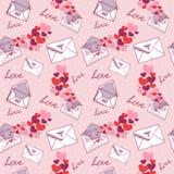 valentin för textur för bokstavsförälskelse seamless Royaltyfri Foto