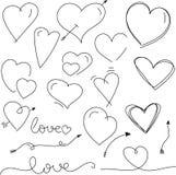 Valentin för trevlig pennhand utdragna hjärtor och pilar för dag stock illustrationer
