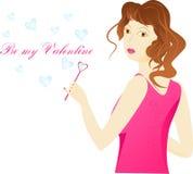 valentin för tvål för hjärta för flicka för dag för bubblakort Arkivbilder