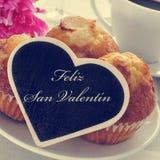 Valentin Feliz san, счастливый день валентинок в испанском языке Стоковое фото RF