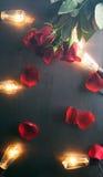 Valentin: Filtrerad bakgrund med Rose Petals And Edison Bulbs Royaltyfri Foto