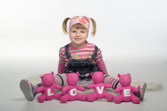 Valentin girl with love bears Stock Photos
