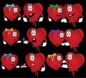 Valentin hearts. There are hearts cartoon heroes Stock Photo