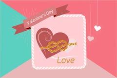Valentin hjärta för dagbakgrund som paras med ett rep av band, vektorbilder Tapet reklamblad, inbjudan, affisch, broschyr, royaltyfri illustrationer