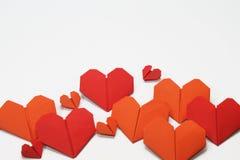 Valentin hjärta formade vikta legitimationshandlingar Royaltyfri Bild