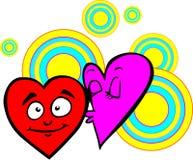 Valentin hjärta, lila skyggar modestly kysshjärta som är röd, på en bakgrund av kulöra cirklar valentin för dagvykort s Royaltyfri Bild