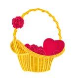 Valentin hjärta och rosor i en korg Royaltyfria Foton