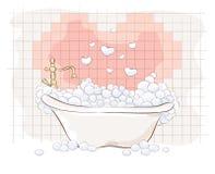 Valentin-Karte -- Bad für Liebhaber Stockbild