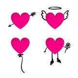 Valentin klistermärkear för daghjärta med klotterdetaljer Arkivbilder