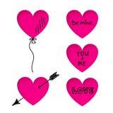 Valentin klistermärkear för daghjärta med klottertitlar Arkivbild
