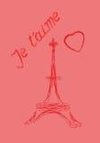 Valentin kort för daghälsning i franska Arkivfoto